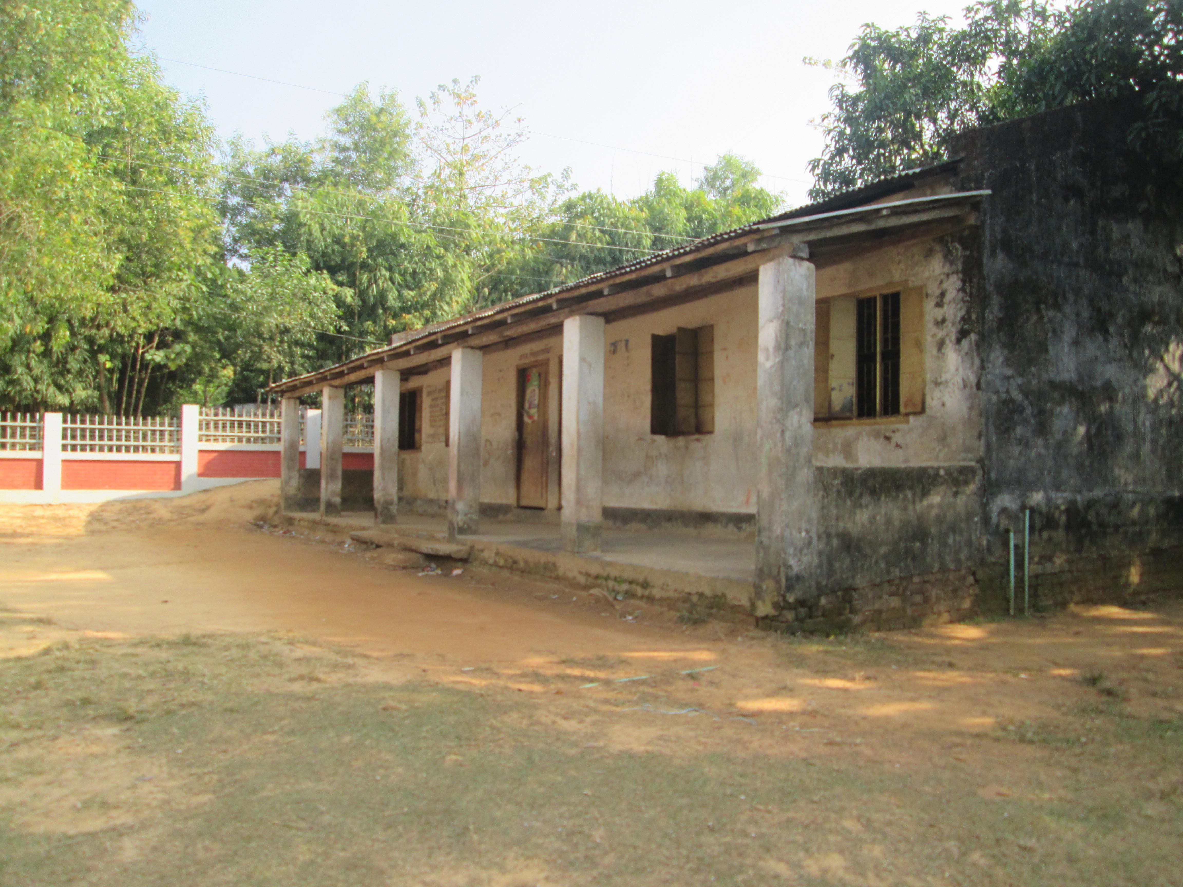 Existing location of school cum disaster shelter building in Amtoli